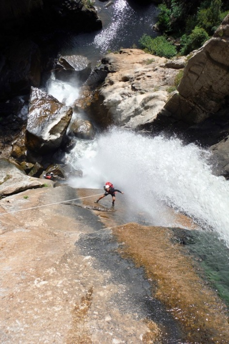55 meter abseil Piscia di Gallu - Canyoning Corsica